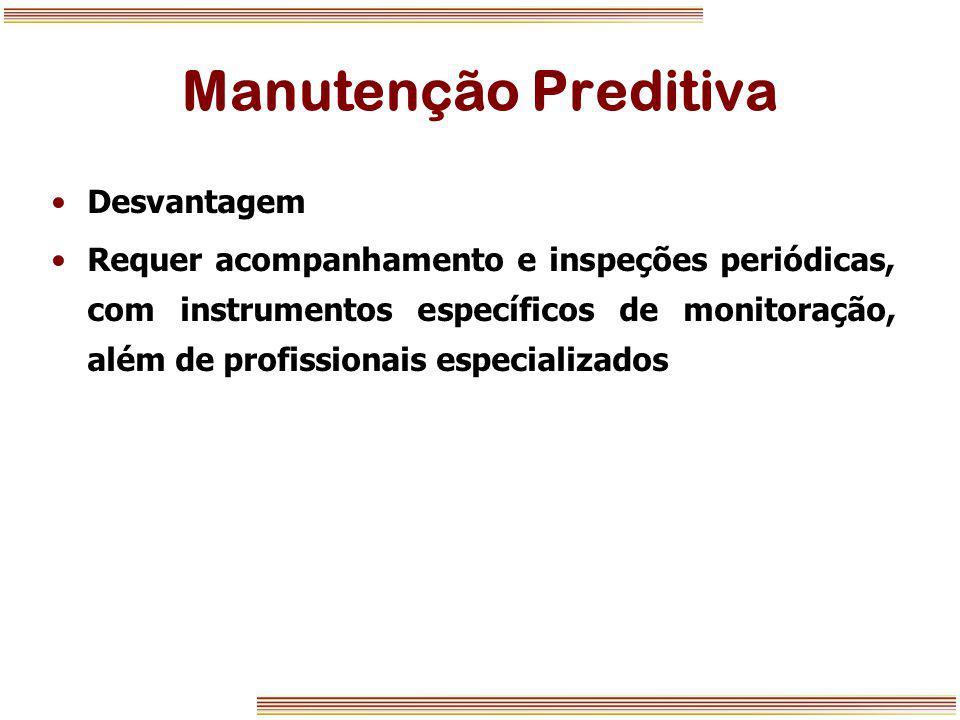 Manutenção Preditiva Desvantagem Requer acompanhamento e inspeções periódicas, com instrumentos específicos de monitoração, além de profissionais espe