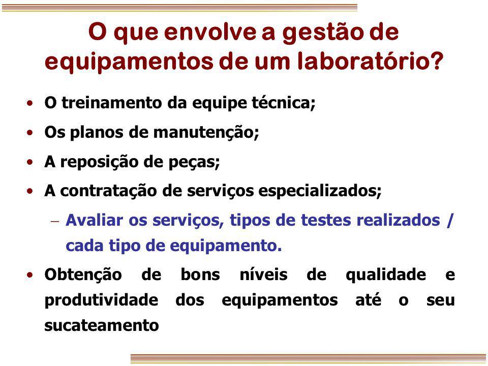 O que envolve a gestão de equipamentos de um laboratório? O treinamento da equipe técnica; Os planos de manutenção; A reposição de peças; A contrataçã