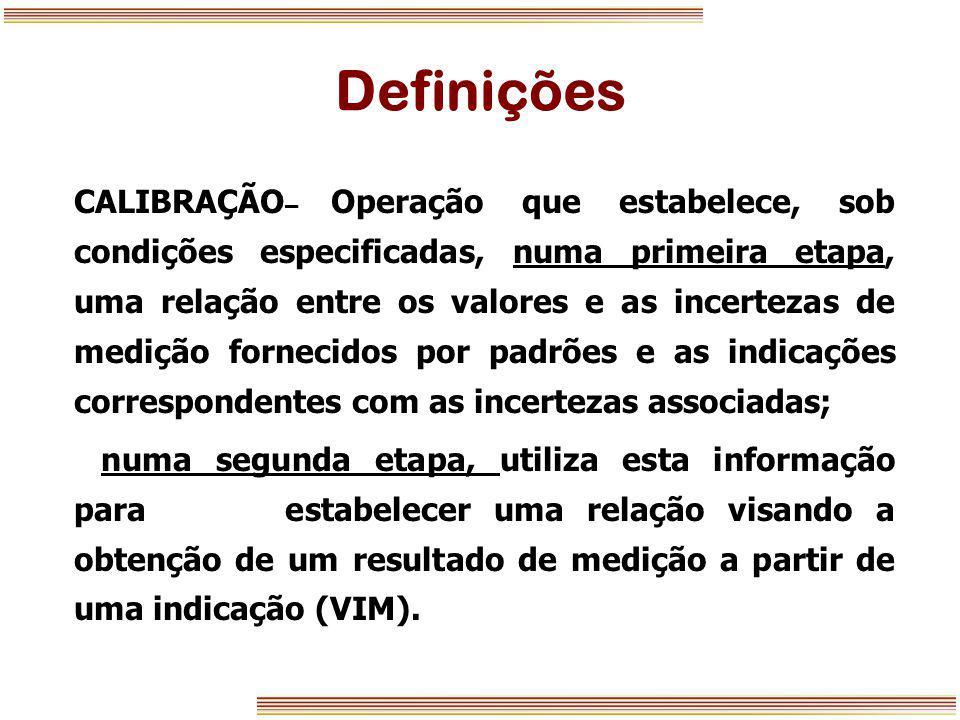 Definições CALIBRAÇÃO – Operação que estabelece, sob condições especificadas, numa primeira etapa, uma relação entre os valores e as incertezas de med