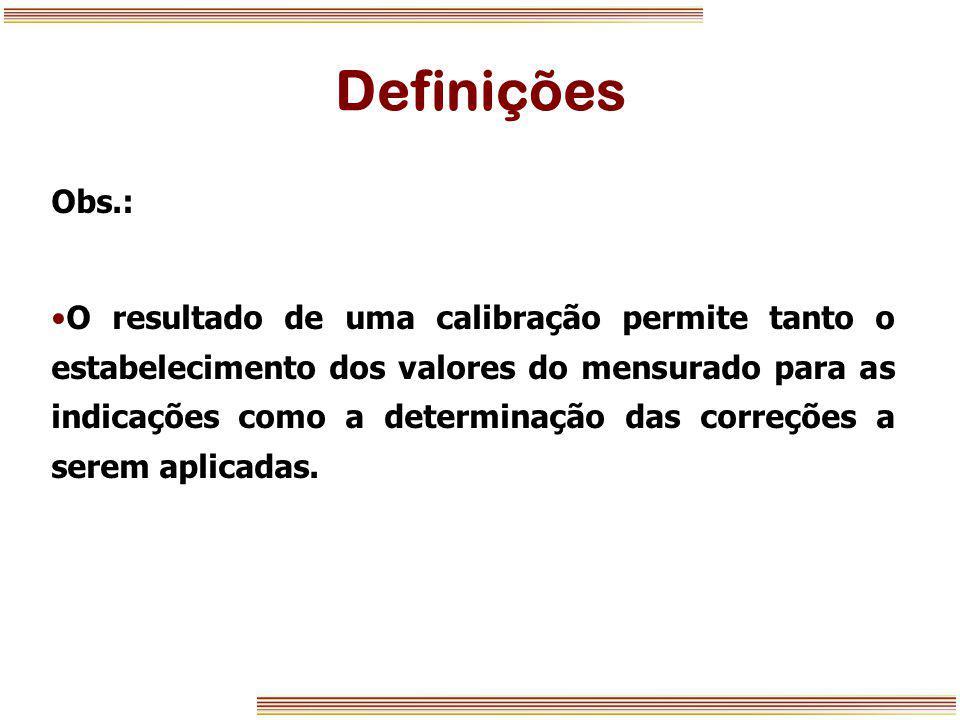 Definições Obs.: O resultado de uma calibração permite tanto o estabelecimento dos valores do mensurado para as indicações como a determinação das cor