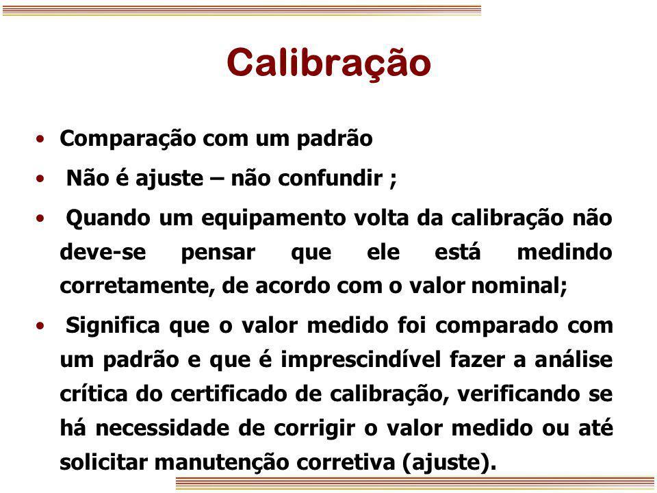 Calibração Comparação com um padrão Não é ajuste – não confundir ; Quando um equipamento volta da calibração não deve-se pensar que ele está medindo c