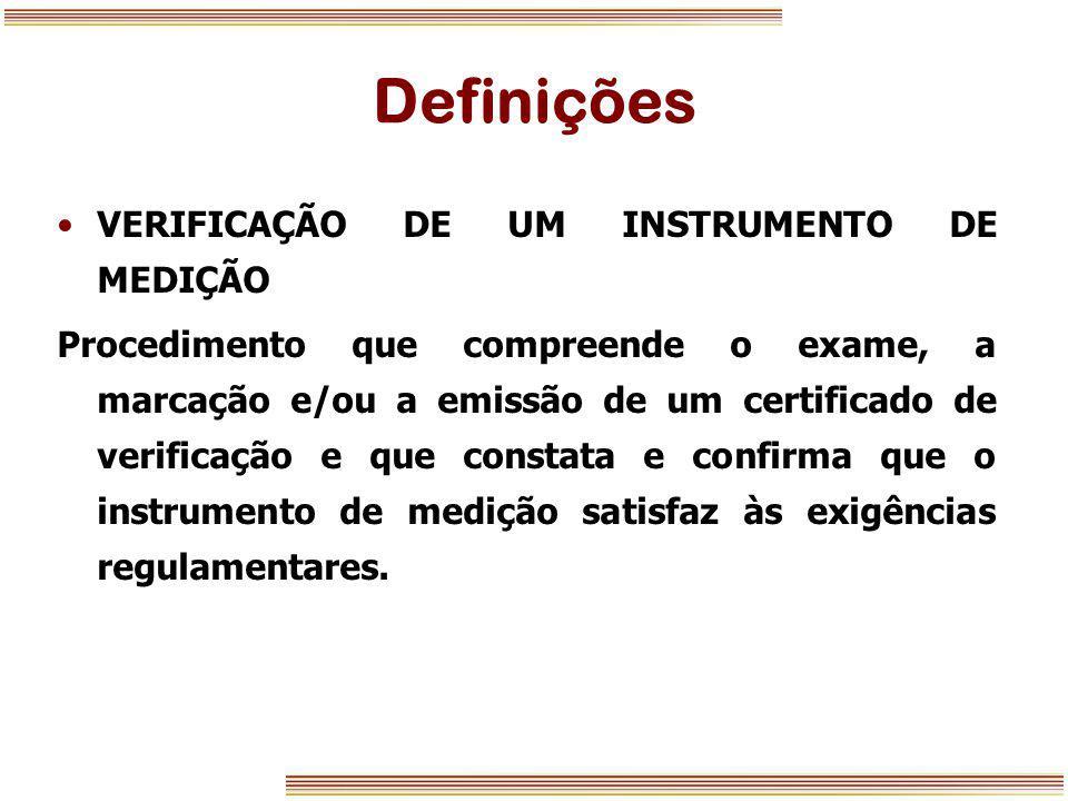 Definições VERIFICAÇÃO DE UM INSTRUMENTO DE MEDIÇÃO Procedimento que compreende o exame, a marcação e/ou a emissão de um certificado de verificação e