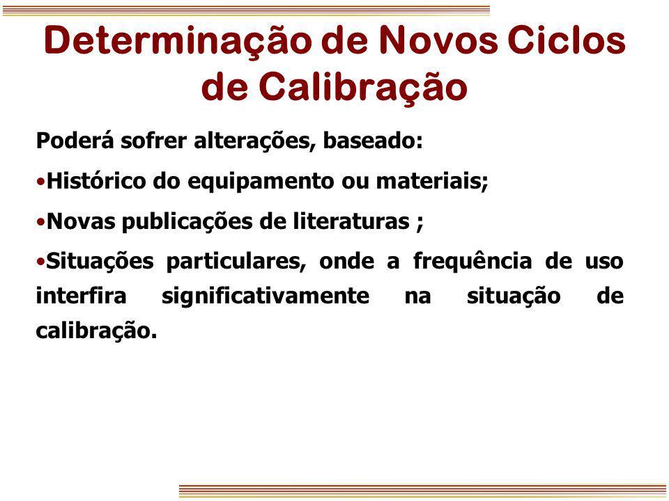 Determinação de Novos Ciclos de Calibração Poderá sofrer alterações, baseado: Histórico do equipamento ou materiais; Novas publicações de literaturas