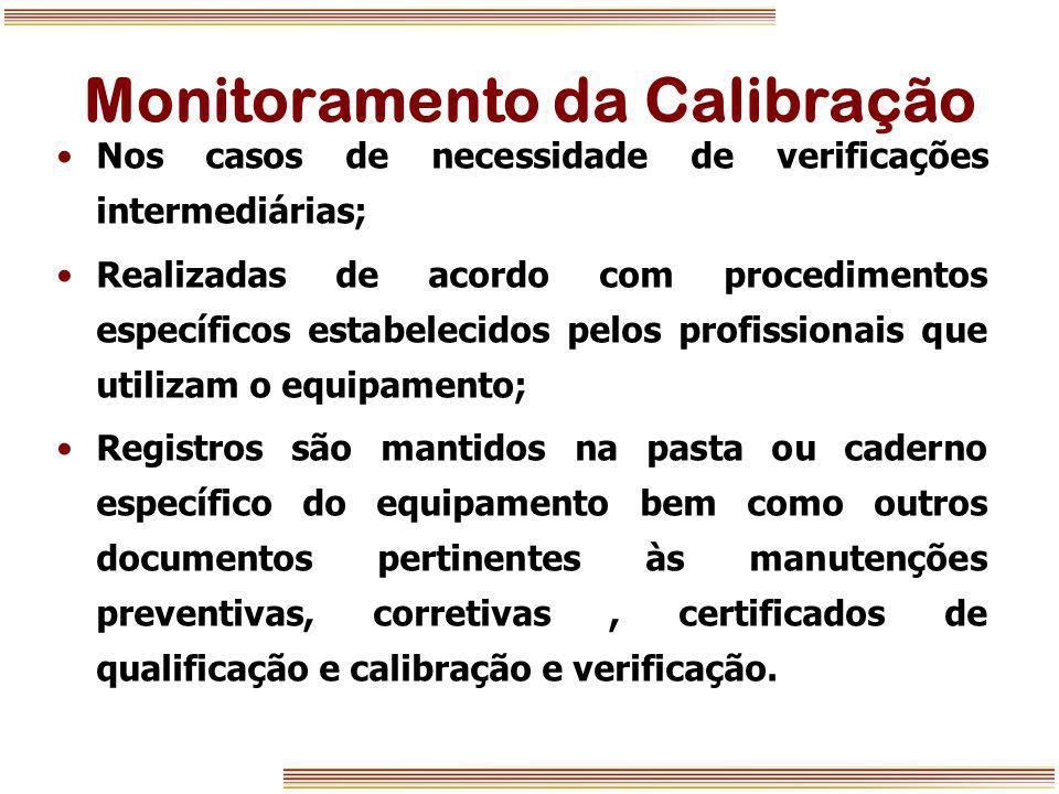 Monitoramento da Calibração Nos casos de necessidade de verificações intermediárias; Realizadas de acordo com procedimentos específicos estabelecidos