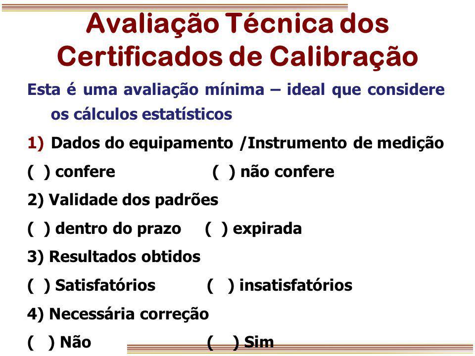 Avaliação Técnica dos Certificados de Calibração Esta é uma avaliação mínima – ideal que considere os cálculos estatísticos 1)Dados do equipamento /In