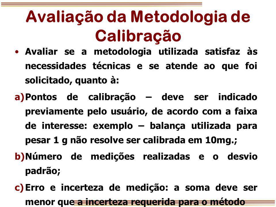Avaliação da Metodologia de Calibração Avaliar se a metodologia utilizada satisfaz às necessidades técnicas e se atende ao que foi solicitado, quanto