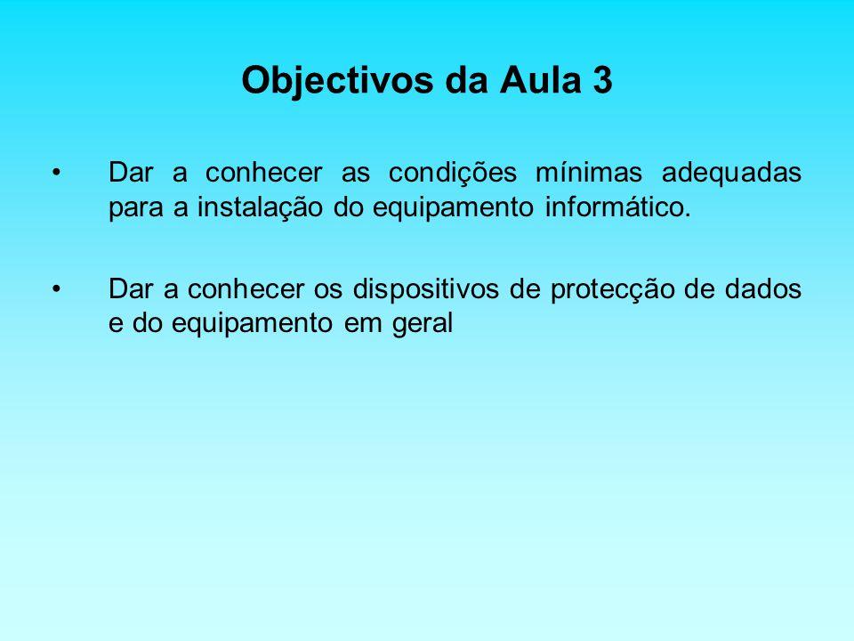 Objectivos da Aula 3 Dar a conhecer as condições mínimas adequadas para a instalação do equipamento informático.