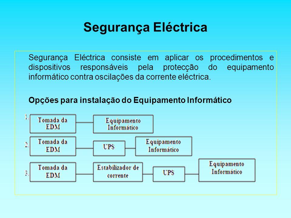 Segurança Eléctrica Segurança Eléctrica consiste em aplicar os procedimentos e dispositivos responsáveis pela protecção do equipamento informático contra oscilações da corrente eléctrica.