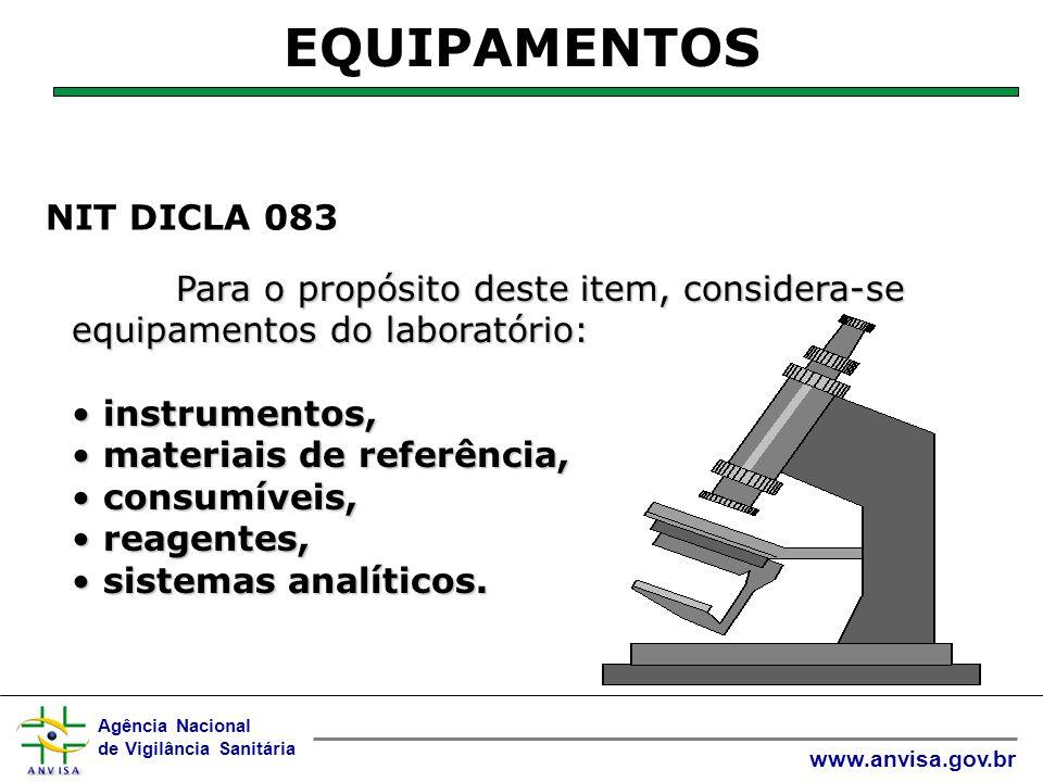 Agência Nacional de Vigilância Sanitária www.anvisa.gov.br  Se o equipamento sair do controle direto do laboratório por um período, o laboratório deve antes da colocação do equipamento em serviço: checar o funcionamento, a calibração demonstrar conformidade.