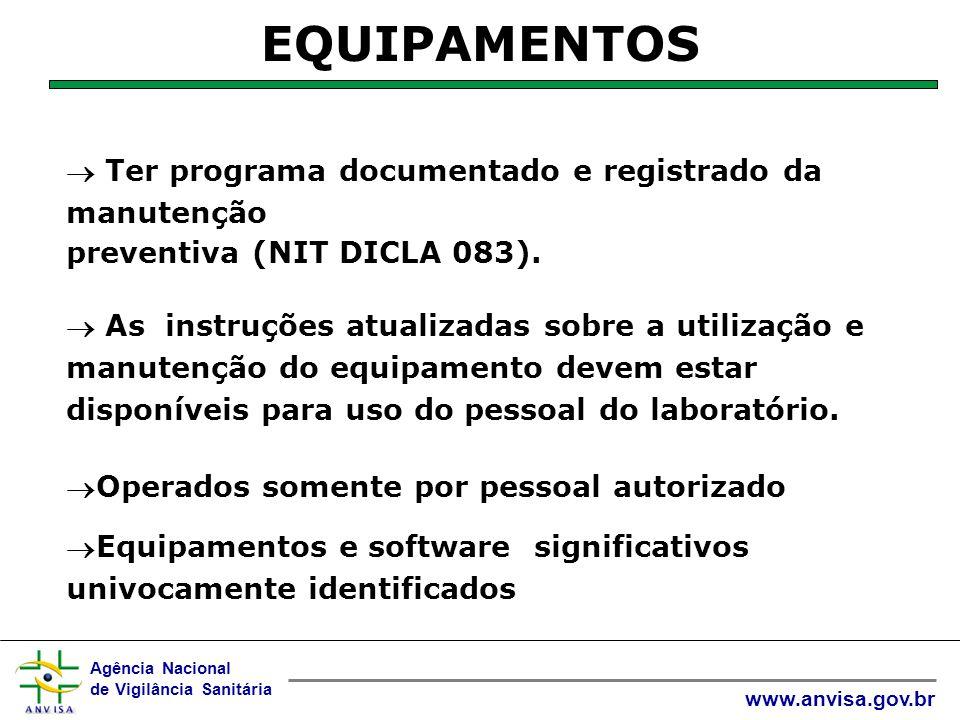 Agência Nacional de Vigilância Sanitária www.anvisa.gov.br Devem ser mantidos registros de cada item do equipamento e do seu software.