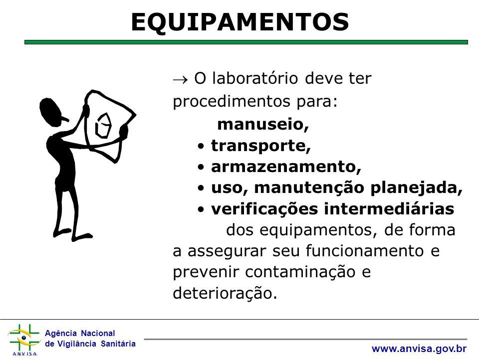 Agência Nacional de Vigilância Sanitária www.anvisa.gov.br  O laboratório deve ter procedimentos adicionais para uso fora do laboratório EQUIPAMENTOS