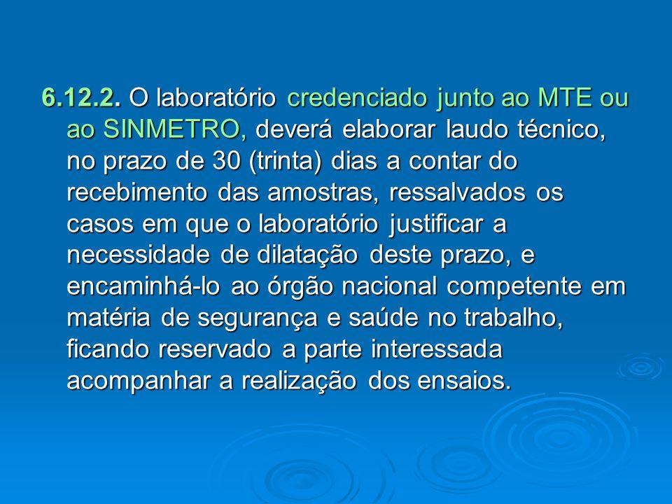 6.12.2. O laboratório credenciado junto ao MTE ou ao SINMETRO, deverá elaborar laudo técnico, no prazo de 30 (trinta) dias a contar do recebimento das