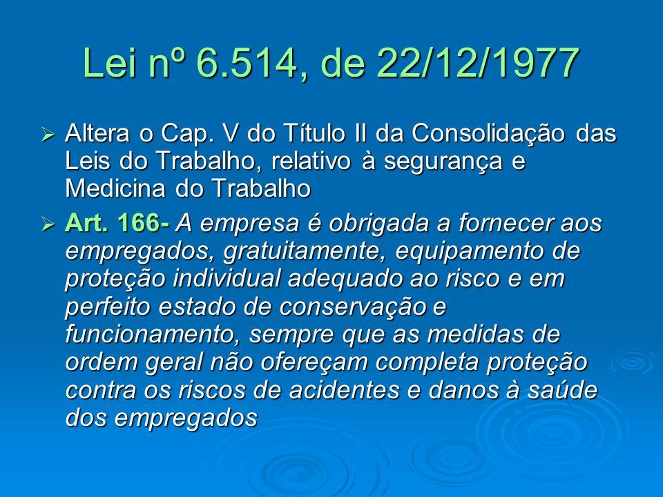 Lei nº 6.514, de 22/12/1977  Altera o Cap. V do Título II da Consolidação das Leis do Trabalho, relativo à segurança e Medicina do Trabalho  Art. 16