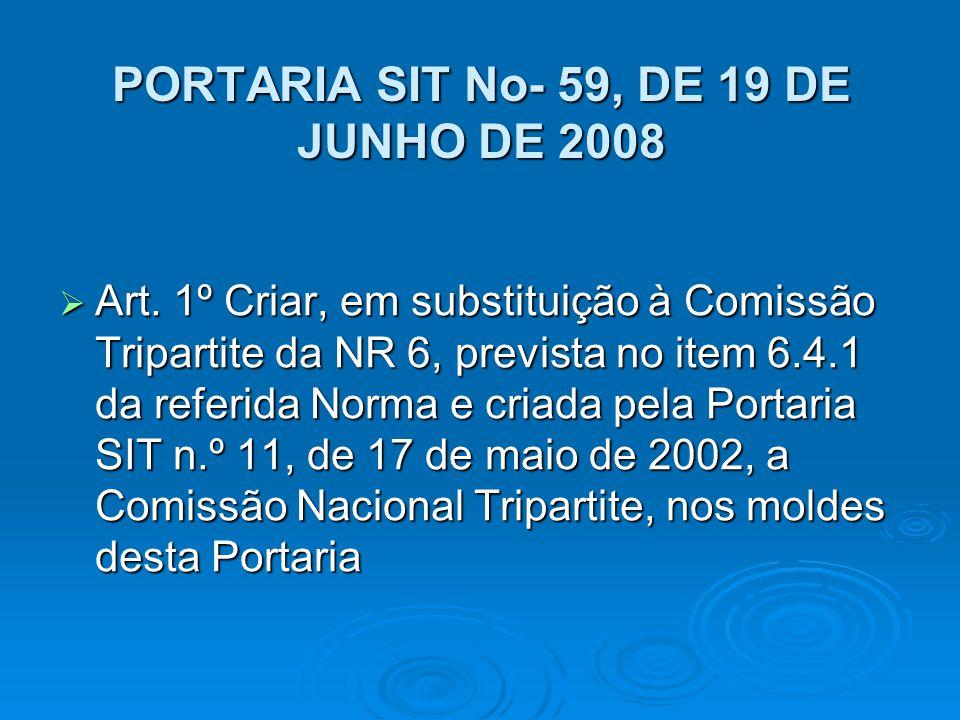 PORTARIA SIT No- 59, DE 19 DE JUNHO DE 2008  Art. 1º Criar, em substituição à Comissão Tripartite da NR 6, prevista no item 6.4.1 da referida Norma e