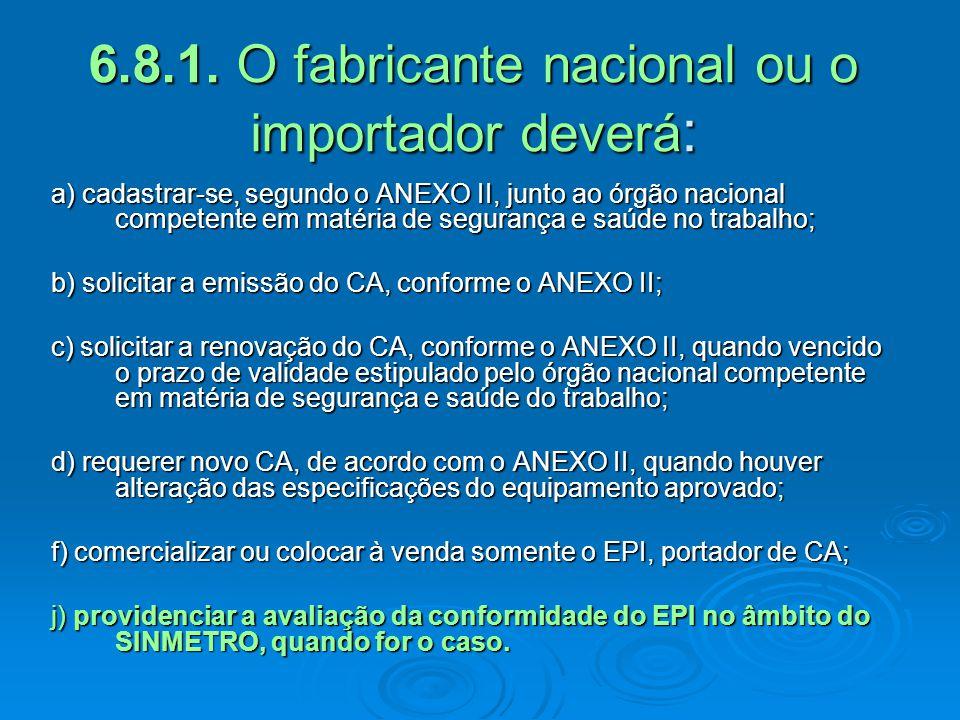 a) cadastrar-se, segundo o ANEXO II, junto ao órgão nacional competente em matéria de segurança e saúde no trabalho; b) solicitar a emissão do CA, con