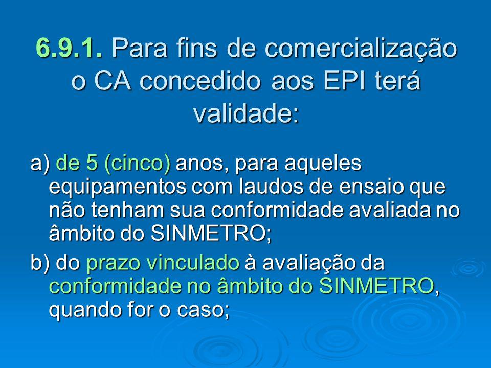 a) de 5 (cinco) anos, para aqueles equipamentos com laudos de ensaio que não tenham sua conformidade avaliada no âmbito do SINMETRO; b) do prazo vincu