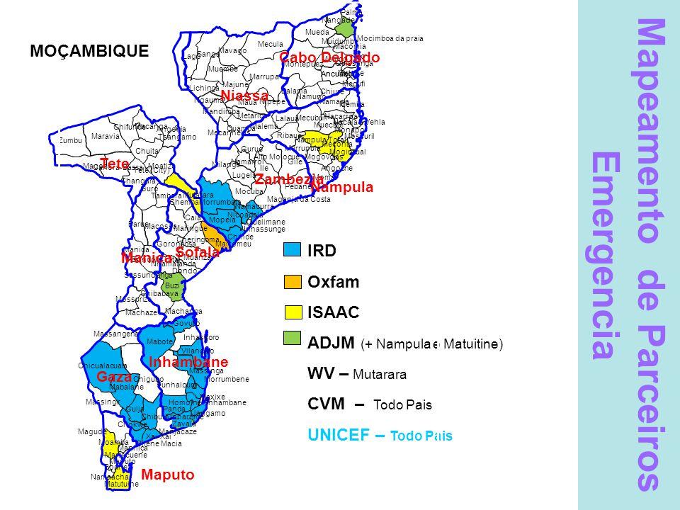 Mapeamento de Parceiros Emergencia IRD Oxfam ISAAC ADJM (+ Nampula e Matuitine) WV – Mutarara CVM – Todo Pais UNICEF – Todo Pais Legenda IRD Samaritans Purse OXFAM CVM ADJM Magariro CEDES – Maputo, Gaza, I'bane, Sofala, Niassa UNICEF – Todo pais