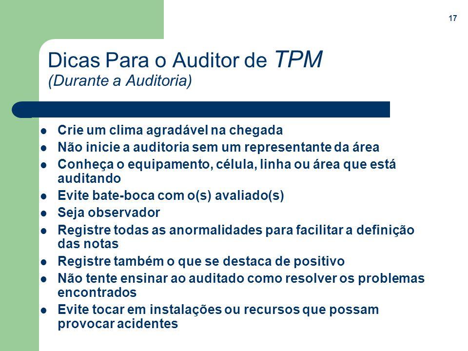 17 Dicas Para o Auditor de TPM (Durante a Auditoria) Crie um clima agradável na chegada Não inicie a auditoria sem um representante da área Conheça o