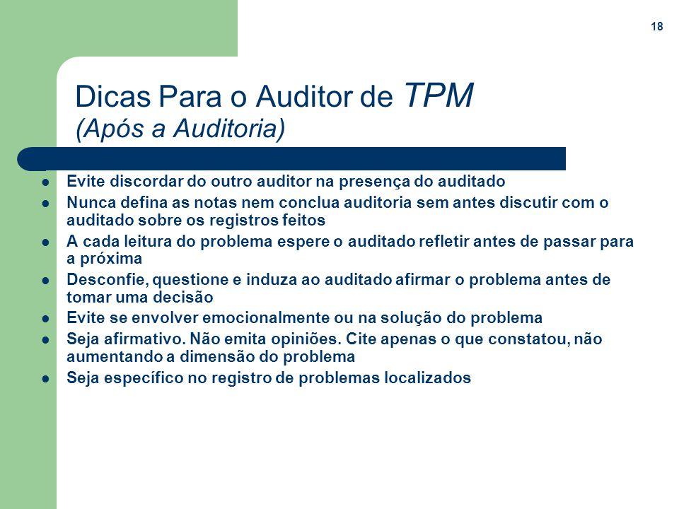 18 Dicas Para o Auditor de TPM (Após a Auditoria) Evite discordar do outro auditor na presença do auditado Nunca defina as notas nem conclua auditoria