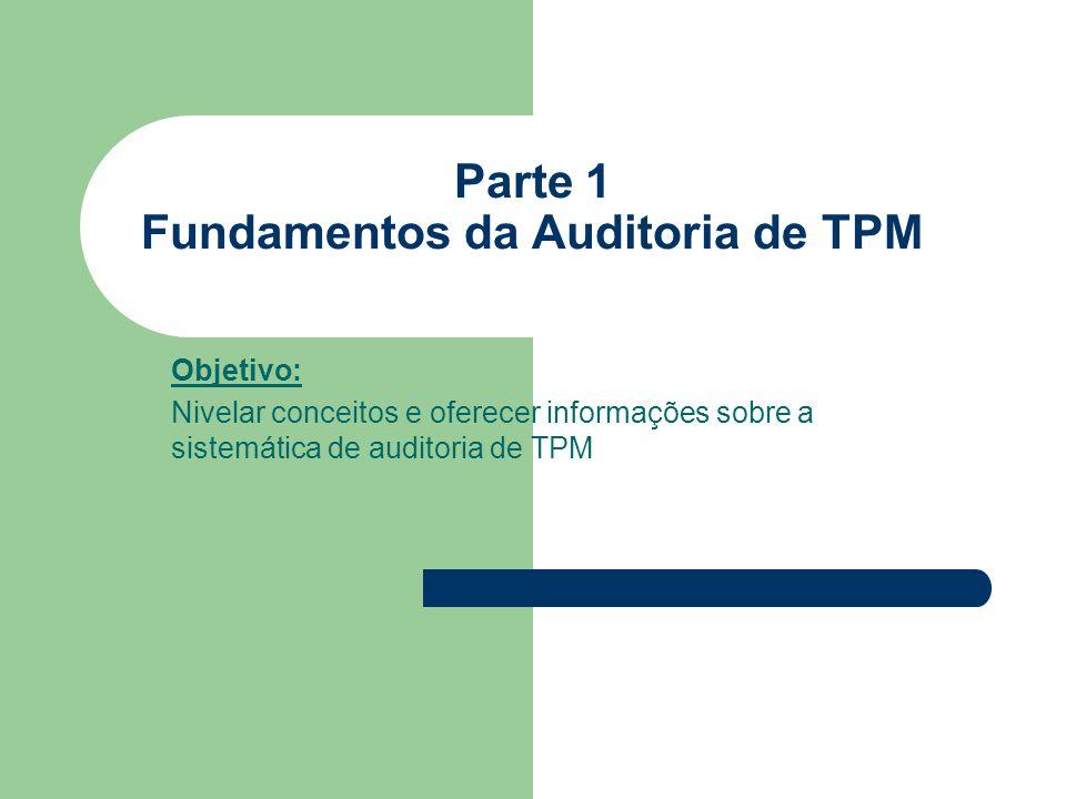 Parte 1 Fundamentos da Auditoria de TPM Objetivo: Nivelar conceitos e oferecer informações sobre a sistemática de auditoria de TPM