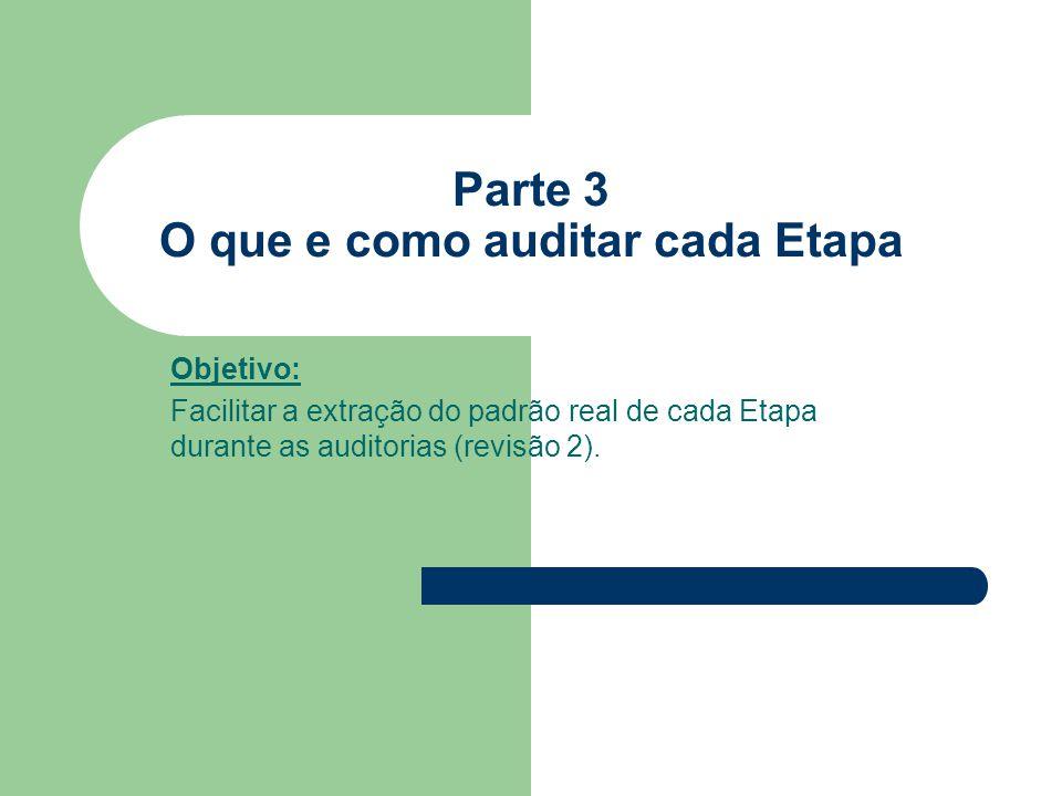 Parte 3 O que e como auditar cada Etapa Objetivo: Facilitar a extração do padrão real de cada Etapa durante as auditorias (revisão 2).