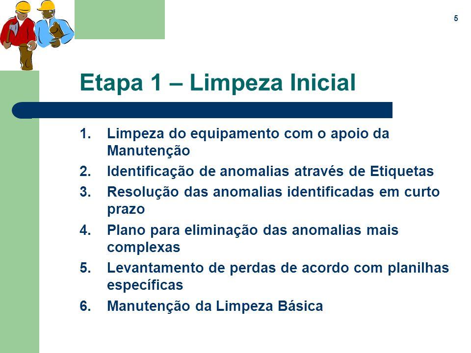 5 Etapa 1 – Limpeza Inicial 1.Limpeza do equipamento com o apoio da Manutenção 2.Identificação de anomalias através de Etiquetas 3.Resolução das anoma