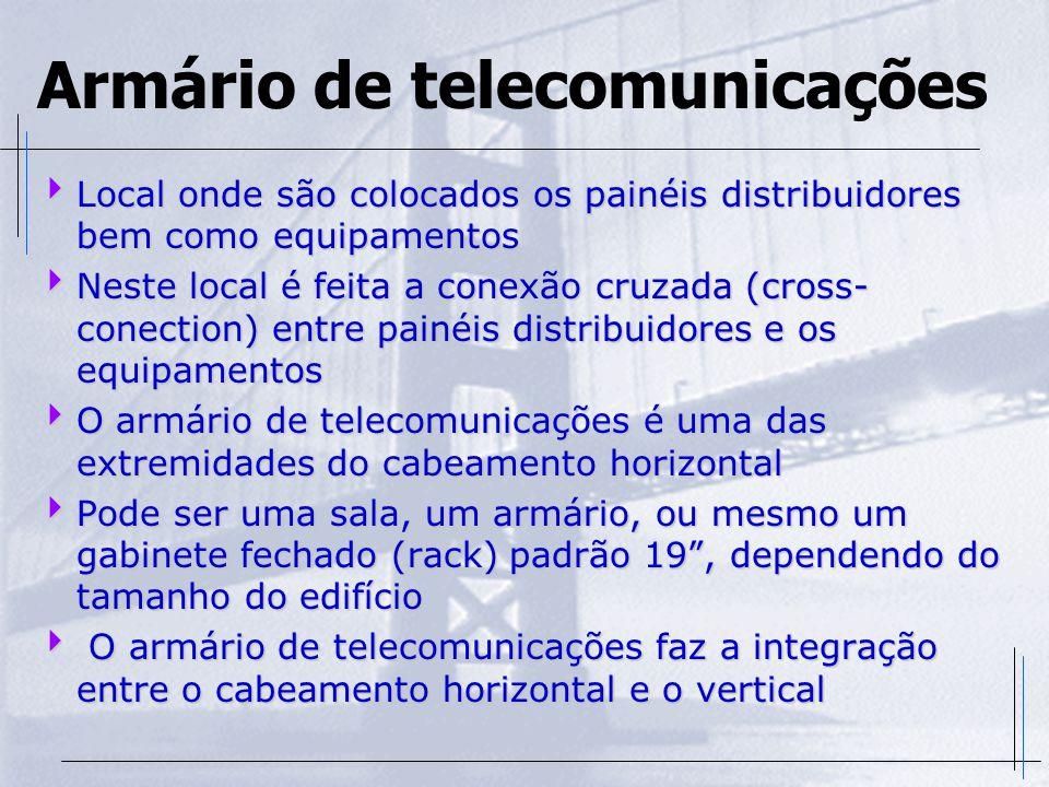 Armário de telecomunicações  Local onde são colocados os painéis distribuidores bem como equipamentos  Neste local é feita a conexão cruzada (cross-