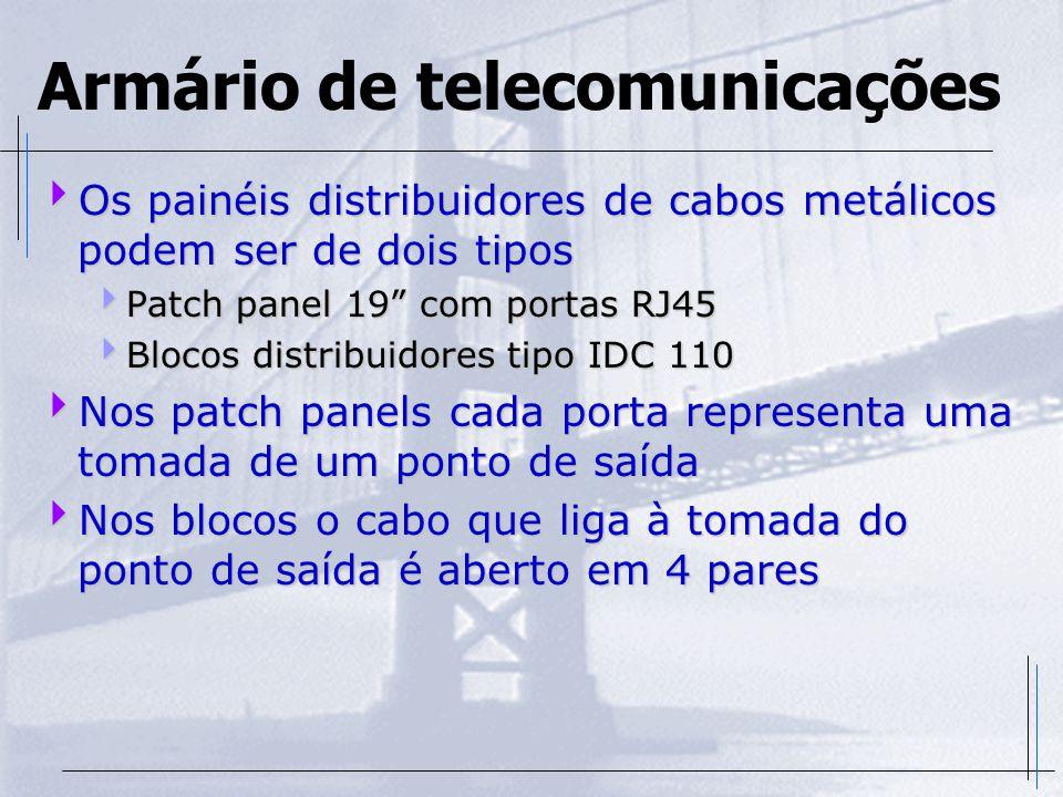 """Armário de telecomunicações  Os painéis distribuidores de cabos metálicos podem ser de dois tipos  Patch panel 19"""" com portas RJ45  Blocos distribu"""