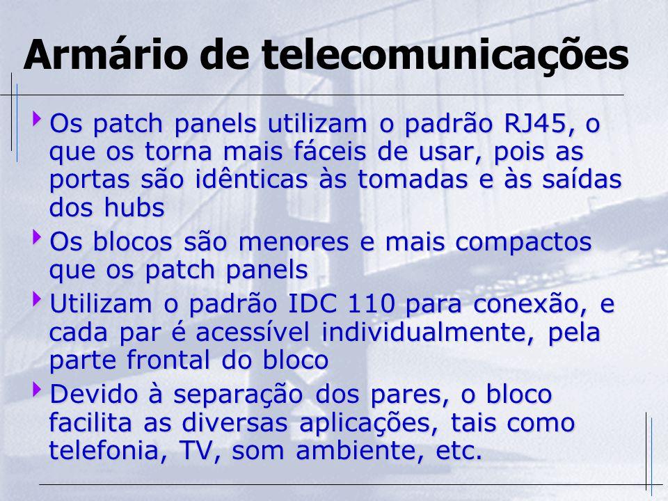 Armário de telecomunicações  Os patch panels utilizam o padrão RJ45, o que os torna mais fáceis de usar, pois as portas são idênticas às tomadas e às