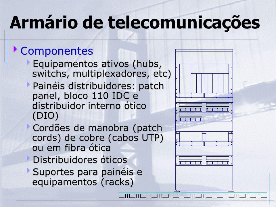Armário de telecomunicações  Componentes  Equipamentos ativos (hubs, switchs, multiplexadores, etc)  Painéis distribuidores: patch panel, bloco 110