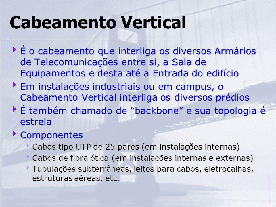 Cabeamento Vertical  É o cabeamento que interliga os diversos Armários de Telecomunicações entre si, a Sala de Equipamentos e desta até a Entrada do