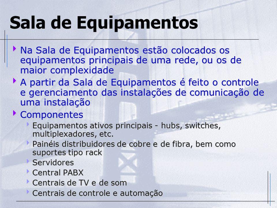 Sala de Equipamentos  Na Sala de Equipamentos estão colocados os equipamentos principais de uma rede, ou os de maior complexidade  A partir da Sala
