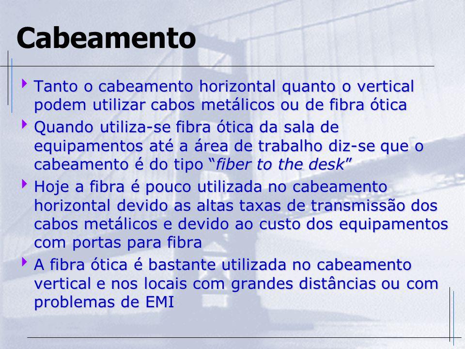 Cabeamento  Tanto o cabeamento horizontal quanto o vertical podem utilizar cabos metálicos ou de fibra ótica  Quando utiliza-se fibra ótica da sala