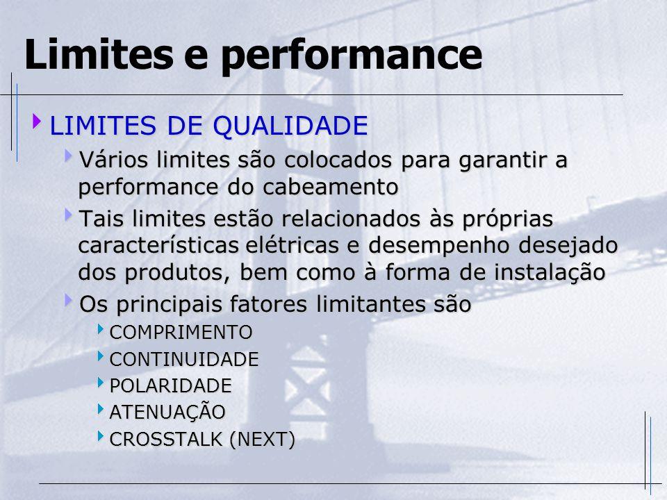 Limites e performance  LIMITES DE QUALIDADE  Vários limites são colocados para garantir a performance do cabeamento  Tais limites estão relacionado