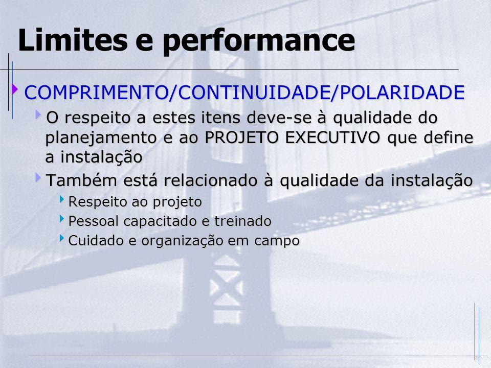 Limites e performance  COMPRIMENTO/CONTINUIDADE/POLARIDADE  O respeito a estes itens deve-se à qualidade do planejamento e ao PROJETO EXECUTIVO que