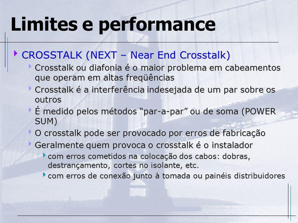 Limites e performance  CROSSTALK (NEXT – Near End Crosstalk)  Crosstalk ou diafonia é o maior problema em cabeamentos que operam em altas freqüência