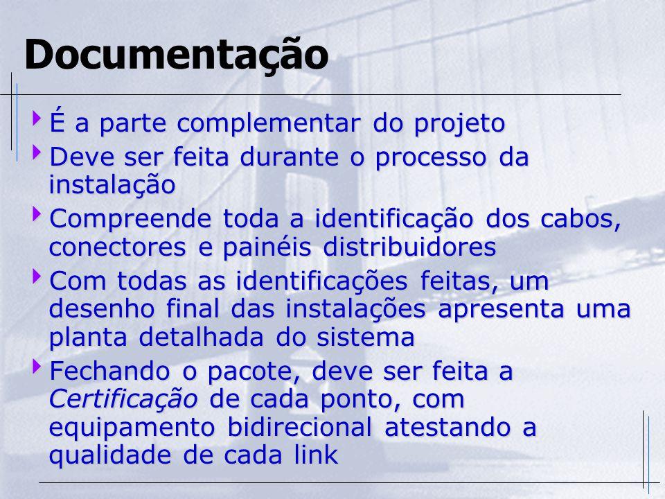 Documentação  É a parte complementar do projeto  Deve ser feita durante o processo da instalação  Compreende toda a identificação dos cabos, conect
