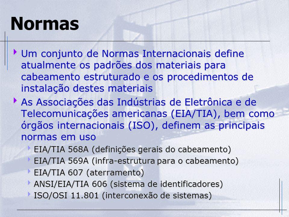 Normas  Um conjunto de Normas Internacionais define atualmente os padrões dos materiais para cabeamento estruturado e os procedimentos de instalação