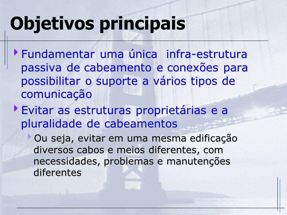 Objetivos principais  Fundamentar uma única infra-estrutura passiva de cabeamento e conexões para possibilitar o suporte a vários tipos de comunicaçã