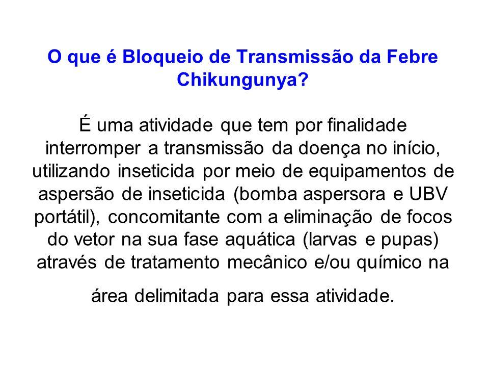 O que é Bloqueio de Transmissão da Febre Chikungunya? É uma atividade que tem por finalidade interromper a transmissão da doença no início, utilizando