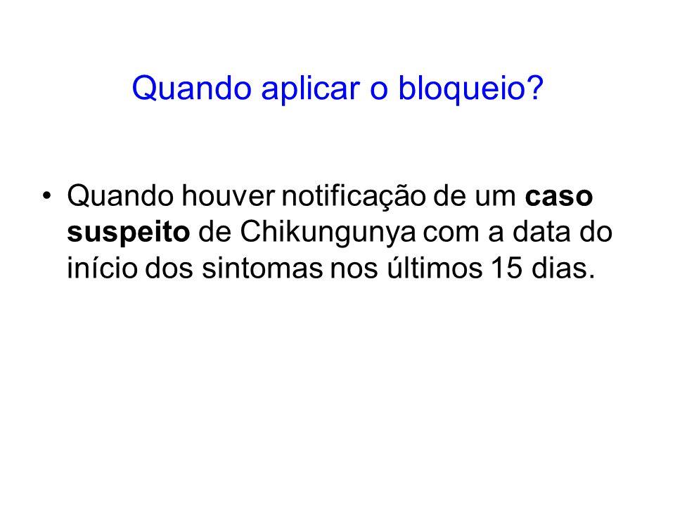 Quando aplicar o bloqueio? Quando houver notificação de um caso suspeito de Chikungunya com a data do início dos sintomas nos últimos 15 dias.