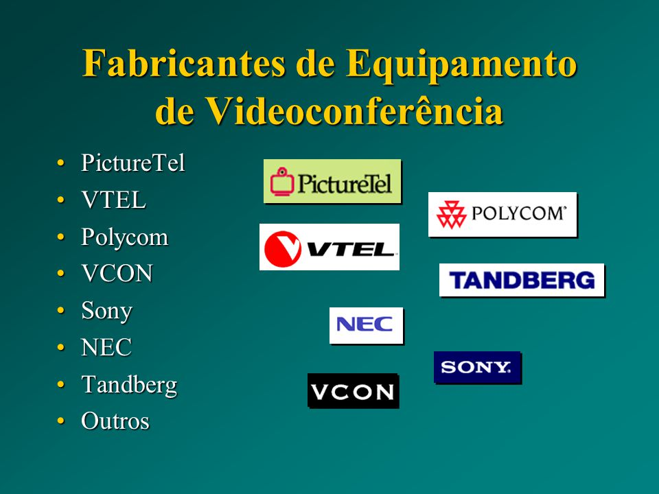 Fabricantes de Equipamento de Videoconferência PictureTelPictureTel VTELVTEL PolycomPolycom VCONVCON SonySony NECNEC TandbergTandberg OutrosOutros