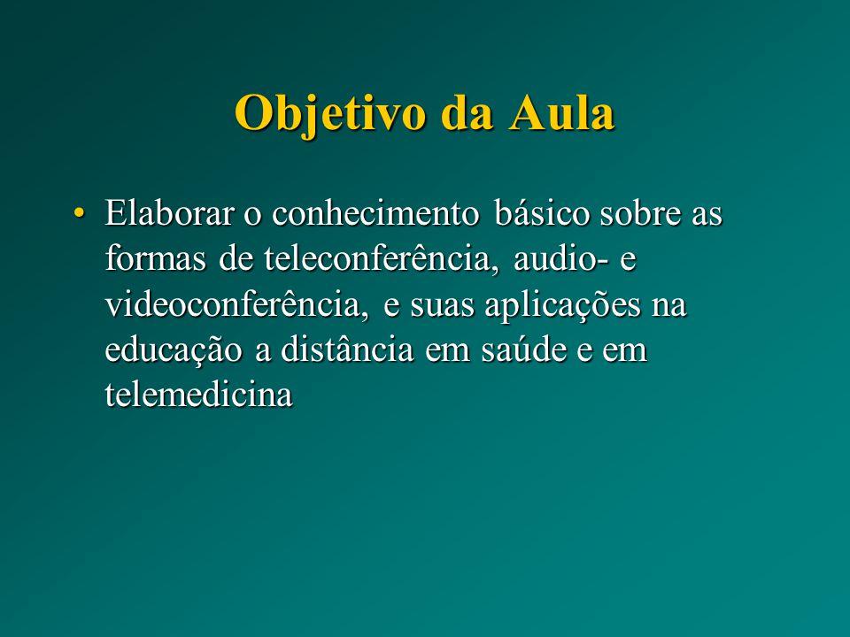 Objetivo da Aula Elaborar o conhecimento básico sobre as formas de teleconferência, audio- e videoconferência, e suas aplicações na educação a distânc