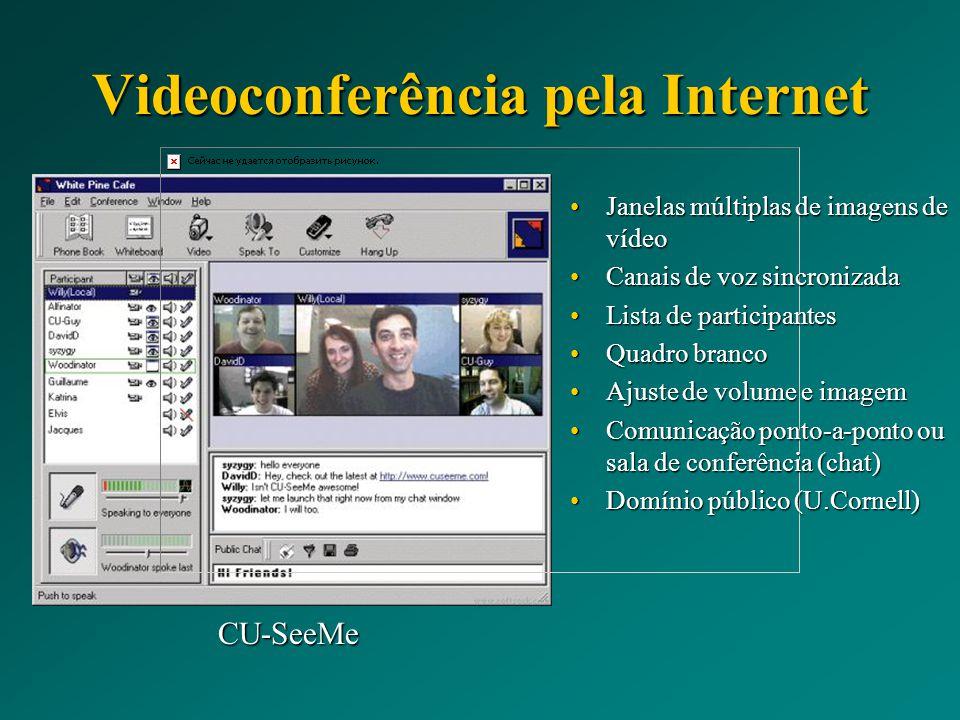 Videoconferência pela Internet CU-SeeMe Janelas múltiplas de imagens de vídeoJanelas múltiplas de imagens de vídeo Canais de voz sincronizadaCanais de