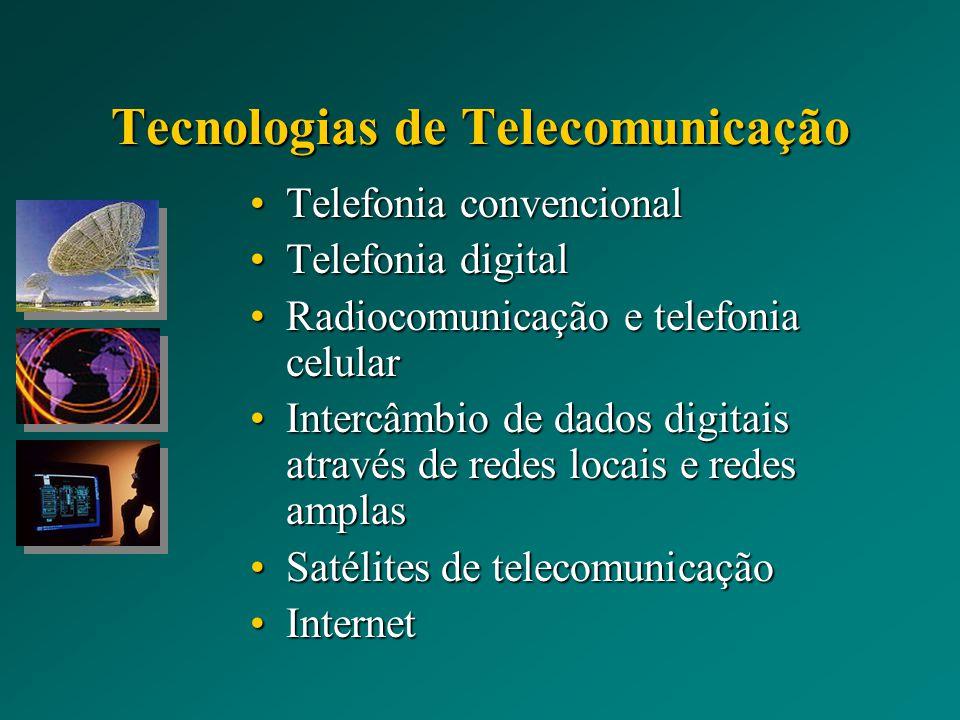Tecnologias de Telecomunicação Telefonia convencionalTelefonia convencional Telefonia digitalTelefonia digital Radiocomunicação e telefonia celularRadiocomunicação e telefonia celular Intercâmbio de dados digitais através de redes locais e redes amplasIntercâmbio de dados digitais através de redes locais e redes amplas Satélites de telecomunicaçãoSatélites de telecomunicação InternetInternet