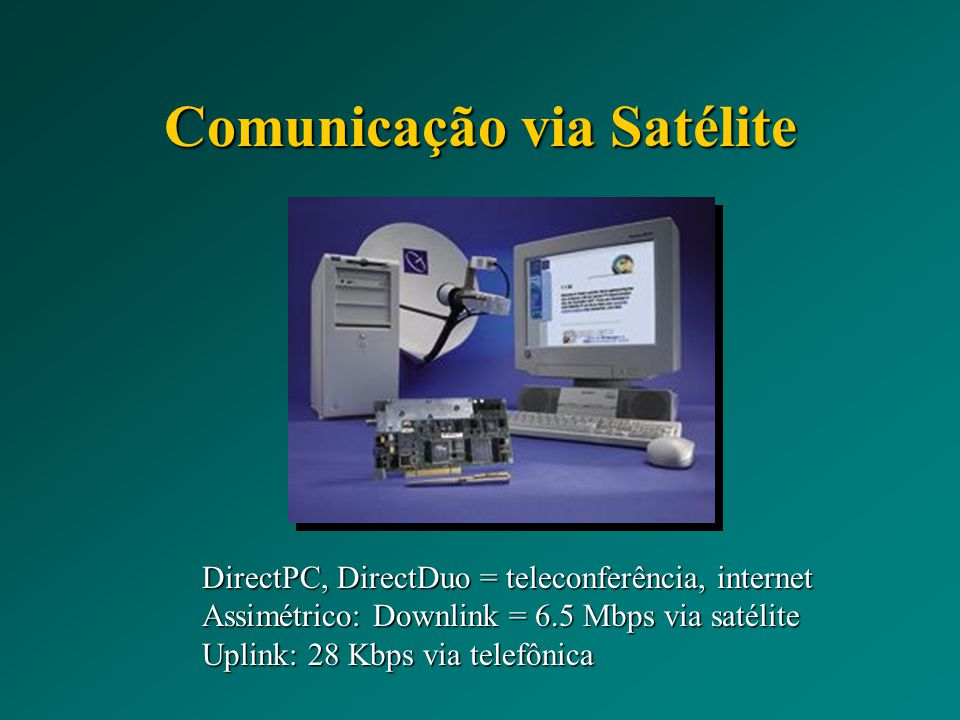 Comunicação via Satélite DirectPC, DirectDuo = teleconferência, internet Assimétrico: Downlink = 6.5 Mbps via satélite Uplink: 28 Kbps via telefônica