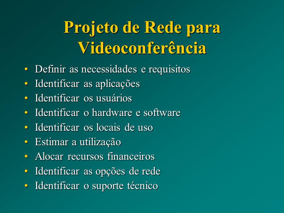 Projeto de Rede para Videoconferência Definir as necessidades e requisitosDefinir as necessidades e requisitos Identificar as aplicaçõesIdentificar as