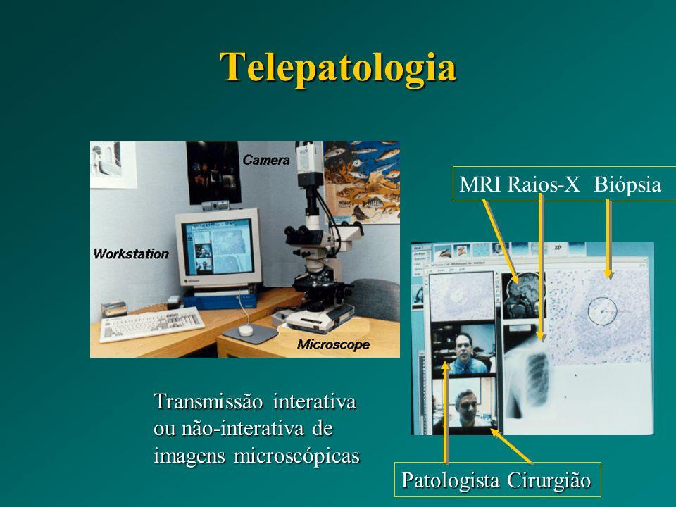 Transmissão interativa ou não-interativa de imagens microscópicas MRI Raios-X Biópsia Patologista Cirurgião Telepatologia