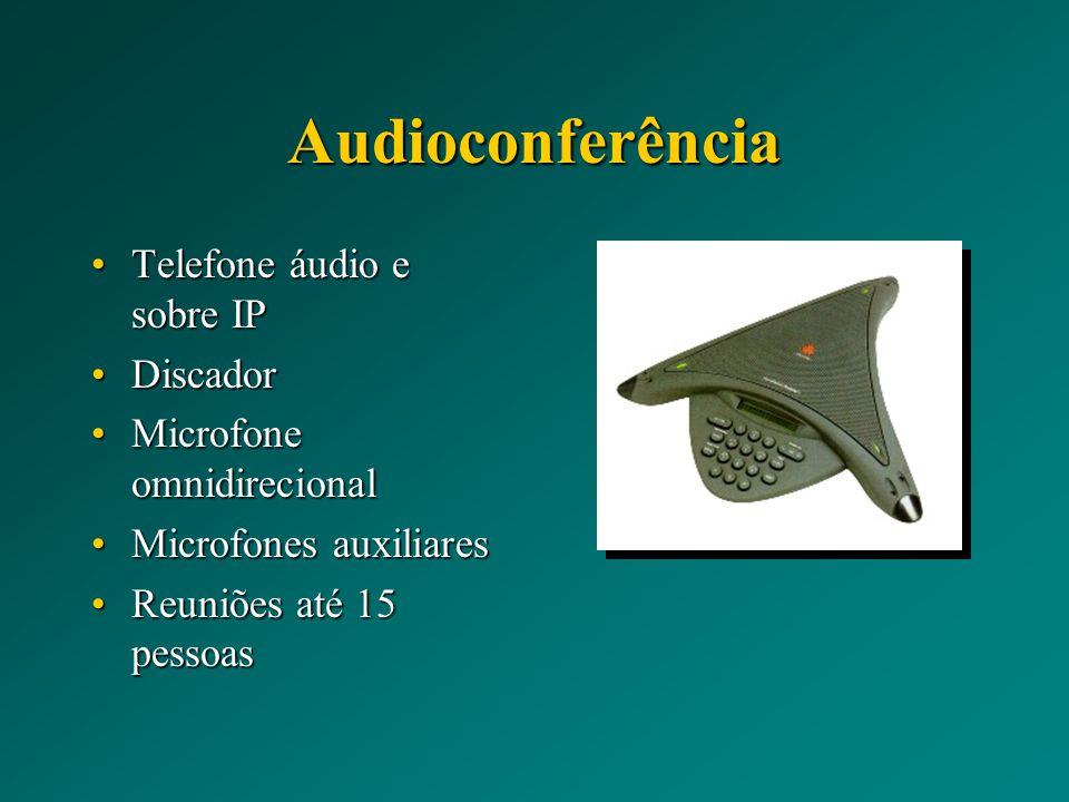 Audioconferência Telefone áudio e sobre IPTelefone áudio e sobre IP DiscadorDiscador Microfone omnidirecionalMicrofone omnidirecional Microfones auxiliaresMicrofones auxiliares Reuniões até 15 pessoasReuniões até 15 pessoas