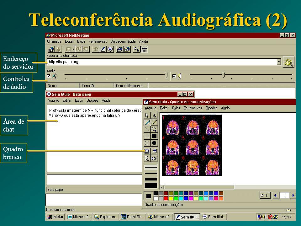 Teleconferência Audiográfica (2) Texto e imagem: NetMeeting Endereço do servidor Controles de áudio Área de chat Quadro branco